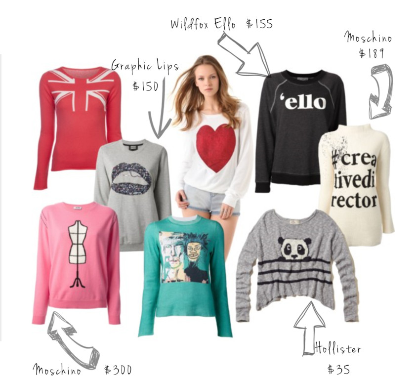 graphic sweater collage